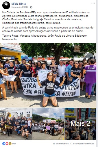 Apesar de modesto, o ato contra Bolsonaro de Surubim ganhou destaque numa página de esquerda muito conhecida e influente no Brasil. A Mídia Ninja!